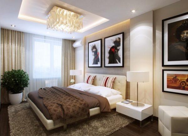 Потолочная люстра в спальне с потолком из гипсокартона