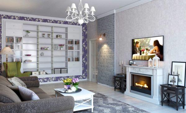 Телевизор в гостиной стиля прованс