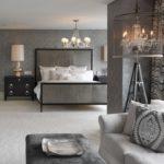 Серый цвет в текстиле спальни