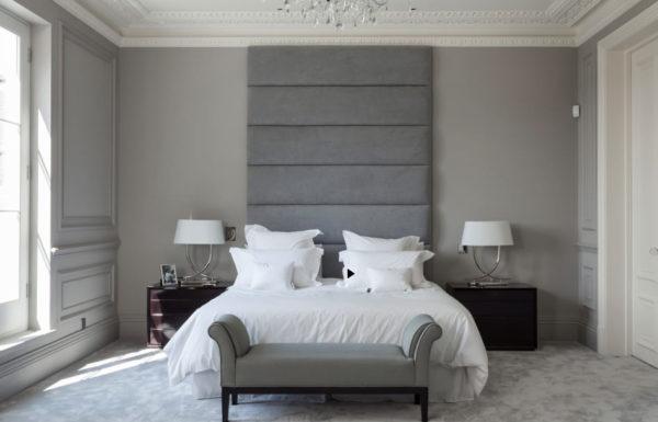 Серые оттенки в спальне