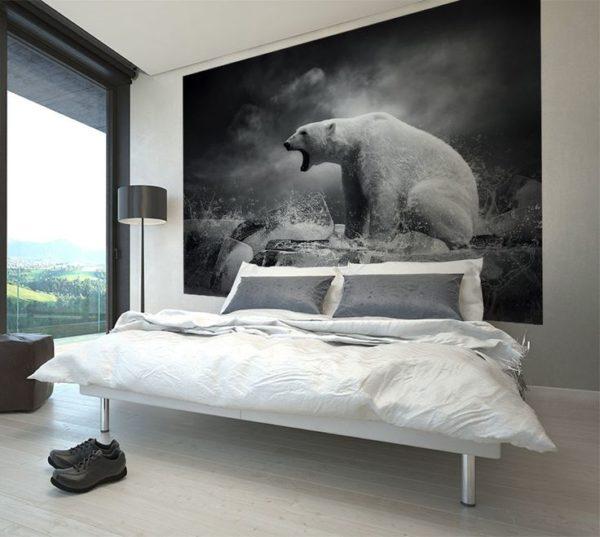 Спальня с фотообоями в серых тонах