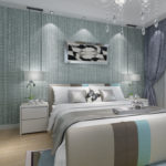 Обои спальни в серо-голубых тонах