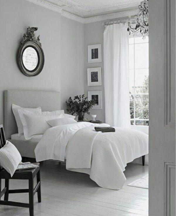 Сочетание серого с белым цветом в спальне