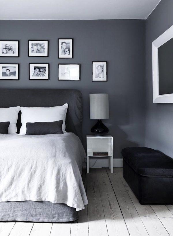 Сочетание серого, чёрного и белого цвета в интерьере спальни