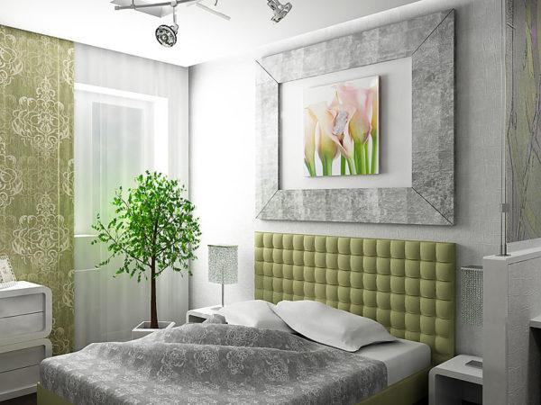 Серая спальня с акцентами зелёного