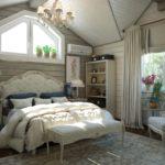 Спальня в стиле кантри в серых тонах