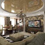 Люстра в гостиной с натяжным потолком