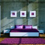 Яркий ковёр в спальной комнате